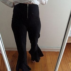 Tigermist black stretch zip front ruffled flair trousers size S